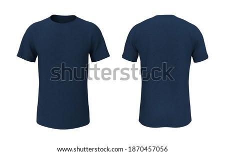 men's short-sleeve t-shirt mockup in front, and back views, design presentation for print, 3d illustration, 3d rendering Foto stock ©