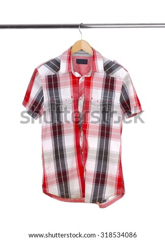 Men's  short-sleeved shirt on a white background. #318534086