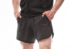 men's shorts close up. Male legs in shorts