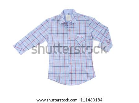 Men's sleeved blue plaid cotton shirt