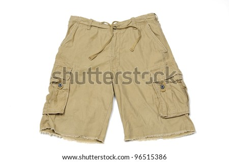 Men's summer cargo shorts isolated on white with natural shadows