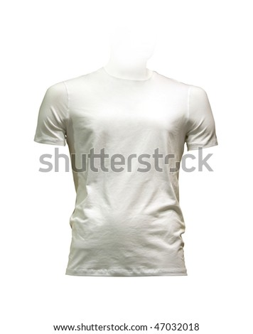 Men's white T-shirt. Photo with clipping path.