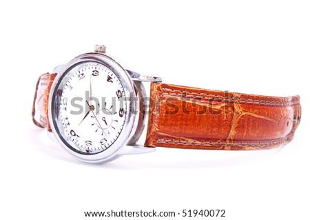 men's wrist silver watch isolated on white