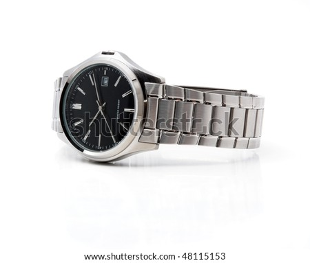 Men's wristwatch in isolation, the white background