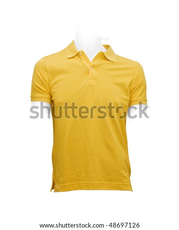 Men's yellow T-shirt. Photo with clipping path.