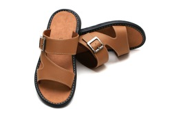 Men sandals footware brown with white background