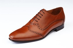 men shoe isolated, brown, laced, leather