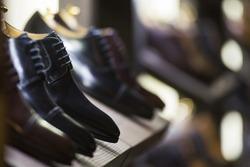 Men shoes in a luxury store in Paris.