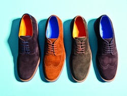 men  suede shoes isolated background