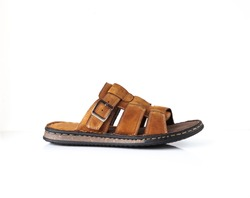 Men summer leaser sandals isolated on white background. Brown mens sandals
