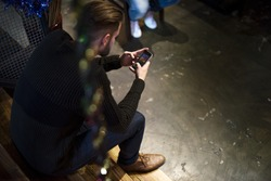 Men Use Mobile Phone Connection Social Network