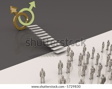 men walking toward the gay symbol