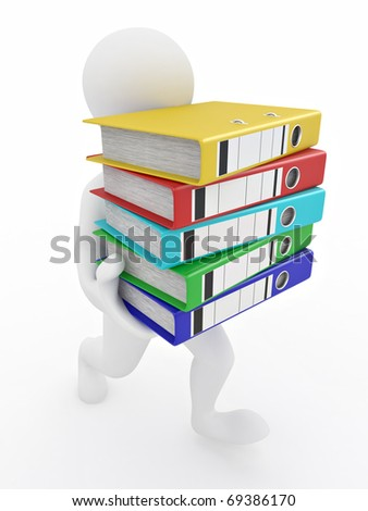 Men with archive from folders on white isolated background. 3d