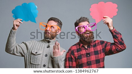 Men with beard and mustache mature hipster wear funny eyeglasses. Explain humor concept. Funny story and humor. Comic idea. Men joking. Share opinion speech bubble copy space. Comic and humor sense.