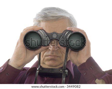 Men with binoculars, isolated on white background