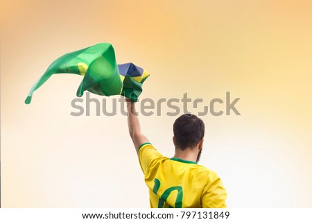 Men with brazilian flag