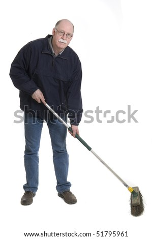 Men with broom isolated on white