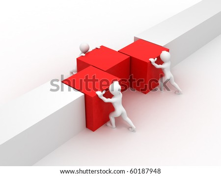 Men with cubes. Teamwork. 3d