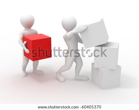 Men with cubes. Teamwork. 3d - stock photo