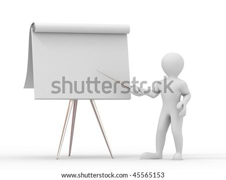 Men with empty board. 3d