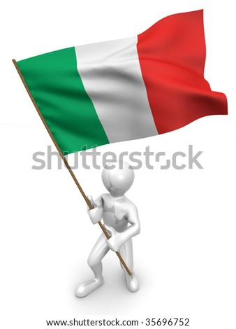 Men with flag. Italy. 3d