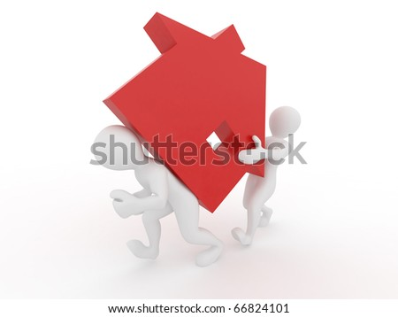 Men with home on white isolated background. 3d