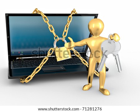 Men with keys and laptop with chains and lock. 3d