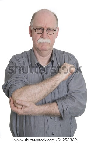 Men with pain in elbow - stock photo