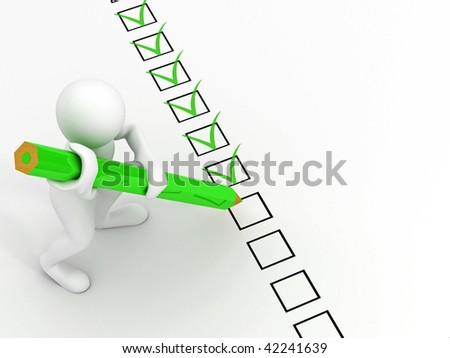 men with pen on questionnaire. 3d