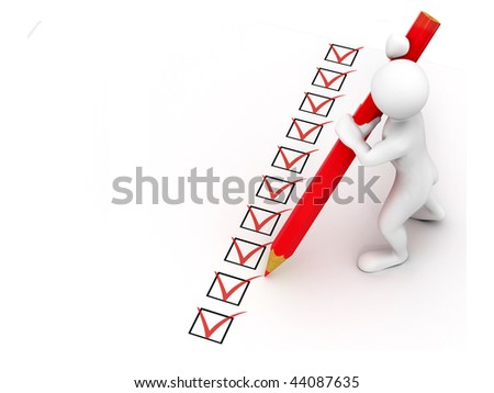 men with pen on questionnaire. 3d - stock photo