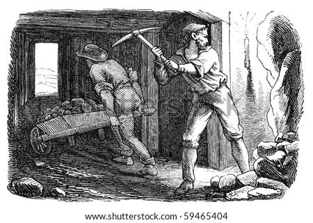 men working in a silver mine....