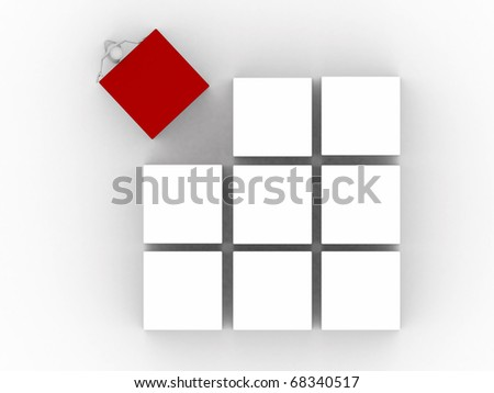 men working with cubes isolated on white background