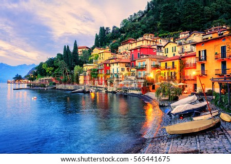 Menaggio old town on Lake Como, Milan, Italy, in the evening sunset light