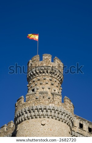 Mendoza Castle at Manzanares El Real in Madrid province, Spain.  A fortress-palace from the 15th century, it is the best preserved castle in the Community of Madrid