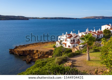 Menorca island in Spain - beautiful landscape with summer villas on the seafront #1544934431