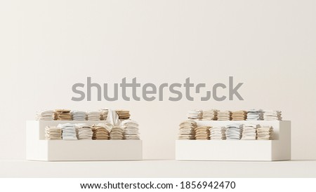 Mens and women cloth shelf, store shelf. Clothes on podium, shelf on cream and neutral beige colors background. 3d rendering, sale store and branding concept