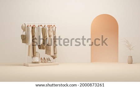 Mens and women cloth shelf, store shelf. Clothes on podium, shelf on cream and neutral beige colors background. Collection of clothes hanging on a rack in neutral beige colors. 3d rendering