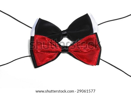 Mens black and white, black and red necktie