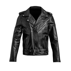Mens black leather jacket isolated on white background.