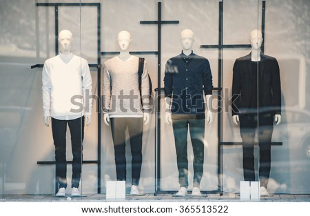 Mens clothing in a retail store.