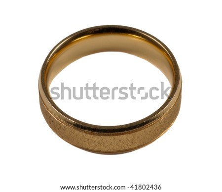 Mens gold wedding ring isolated