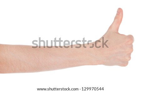 Mens hand making sign GOOD. Isolated on white background