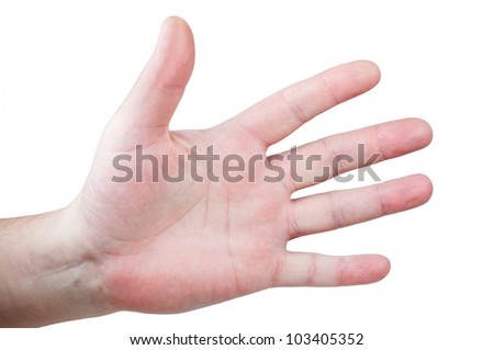Mens palm with fingers spread