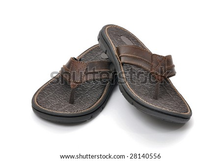 Mens sandals on a white background