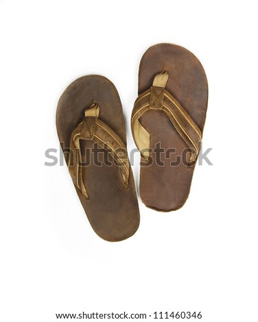 Mens sandals on white background