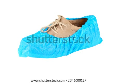 mens shoe in overshoes isolated on white background  #234530017