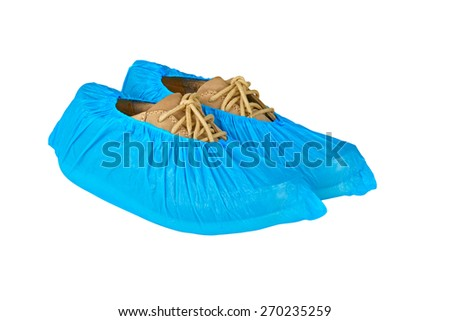 mens shoes in overshoes isolated on white background  #270235259