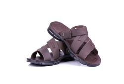 Mens summer brown leather sandals isolated on white background