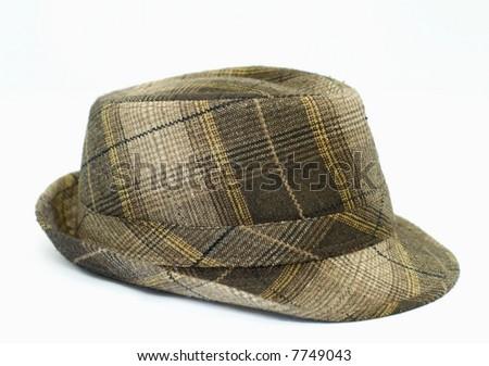 mens trendy plaid winter hat on white background