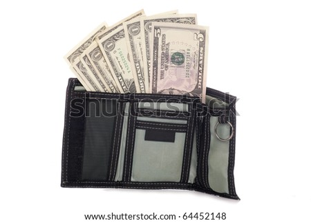 Mens wallet with American dollars studio cutout